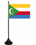 Comoros Desk / Table Flag with plastic stand and base.